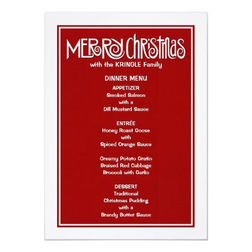 Menú blanco de la cena de las Felices Navidad Invitación 12,7 X 17,8 Cm