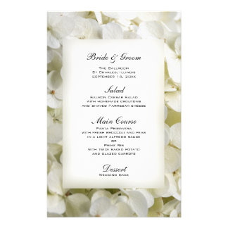 Menú blanco del boda del Hydrangea Papeleria
