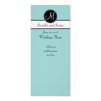 Menú blanco del boda del monograma del negro azul invitación 10,1 x 23,5 cm