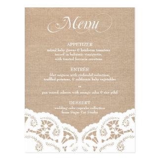 Menú blanco del boda del tapetito del cordón de la tarjeta postal