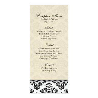 """Menú blanco y de marfil negro de la recepción del invitación 4"""" x 9.25"""""""