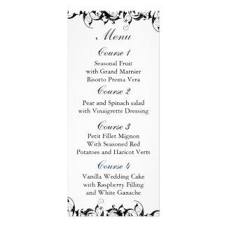 menú blanco y negro del boda