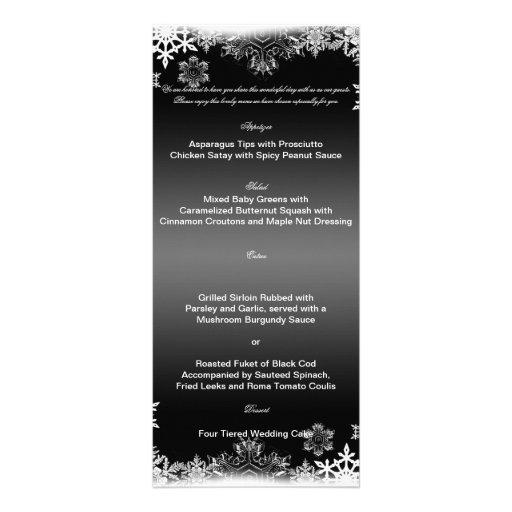 Menú blanco y negro del boda del copo de nieve lonas personalizadas