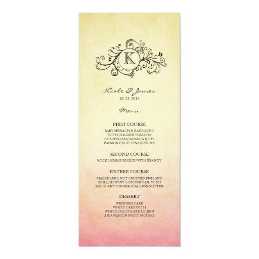 Menú bohemio amarillo y rosado rústico del boda invitación 10,1 x 23,5 cm