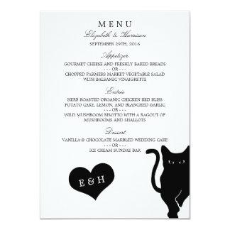 """Menú caprichoso moderno del boda del gato negro invitación 4.5"""" x 6.25"""""""