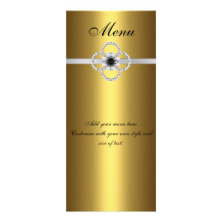 Menu Card Gold Black Silver Diamond Jewel