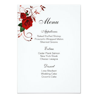 Menu Card-Red Rose Card