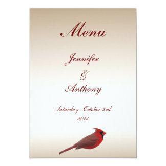 Menú cardinal del boda invitación