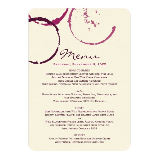 Menu Cards | Wine Stain Rings Personalized Announcement