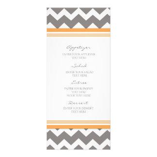 Menú Chevron gris anaranjado del boda Tarjetas Publicitarias A Todo Color