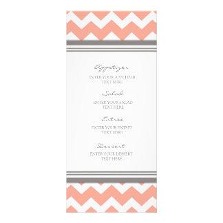 Menú Chevron gris coralino del boda Lona Publicitaria