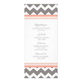 Menú Chevron gris coralino del boda Tarjeta Publicitaria A Todo Color
