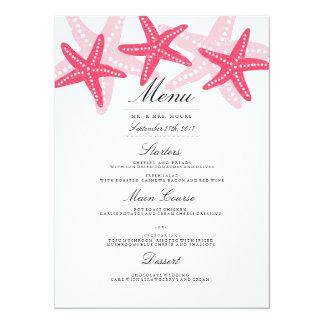 """Menú coralino de la cena de boda de playa de las invitación 5.5"""" x 7.5"""""""
