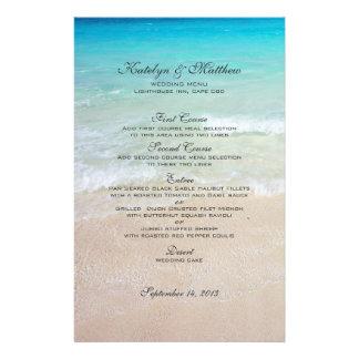 """Menú de encargo del boda de playa de tres entradas folleto 5.5"""" x 8.5"""""""