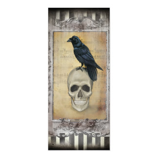 """Menú de Halloween del cuervo y del cráneo Invitación 4"""" X 9.25"""""""