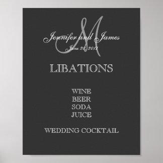 Menú de la barra del boda póster