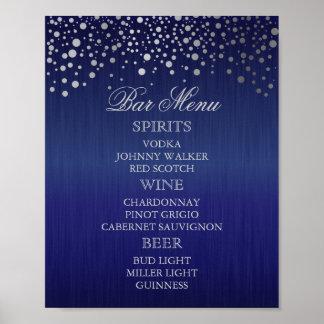 Menú de la barra para un boda póster