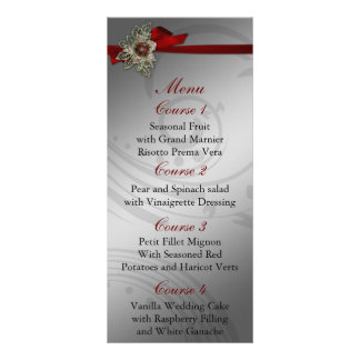 Menú de la bodas de plata roja y de la FALSA cinta