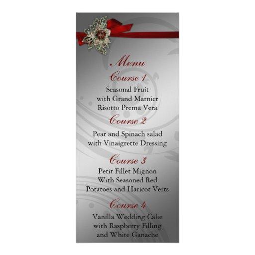 Menú de la bodas de plata roja y de la FALSA cinta Tarjeta Publicitaria A Todo Color