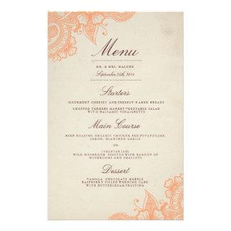 """Menú de la cena de boda de la MOD Mehandi Folleto 5.5"""" X 8.5"""""""