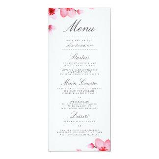 """Menú de la cena de boda de las flores de cerezo invitación 4"""" x 9.25"""""""
