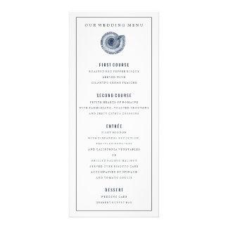 Menú de la cena de boda de Shell del mar de la Invitaciones Personalizada
