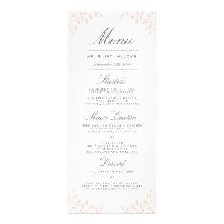 Menú de la cena de boda del jardín secreto - rubor invitación personalizada