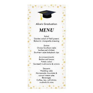 Menú de la cena de la graduación, estrellas, gorra tarjetas publicitarias personalizadas