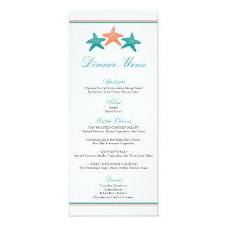 Menú de la cena de las estrellas de mar invitación 10,1 x 23,5 cm