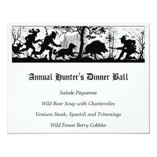 """Menú de la cena de los cazadores del jabalí invitación 4.25"""" x 5.5"""""""
