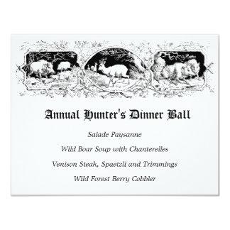 Menú de la cena del juego de pelota del cazador invitación 10,8 x 13,9 cm
