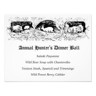 Menú de la cena del juego de pelota del cazador pa invitación