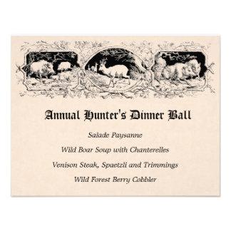 Menú de la cena del juego de pelota del cazador pa invitaciones personalizada