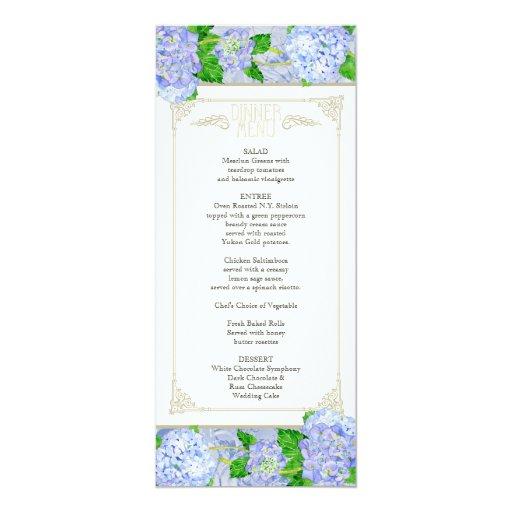 """Menú de la cena - formal floral del cordón azul invitación 4"""" x 9.25"""""""