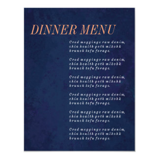 """Menú de la cena, sistema del boda de los azules invitación 4.25"""" x 5.5"""""""