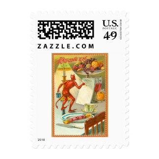 Menú de la lámpara de la fruta del demonio del sello postal