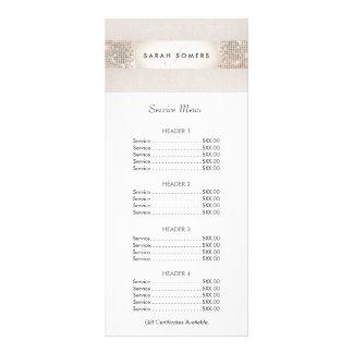 Menú de la lista de precios de la lentejuela de la lonas