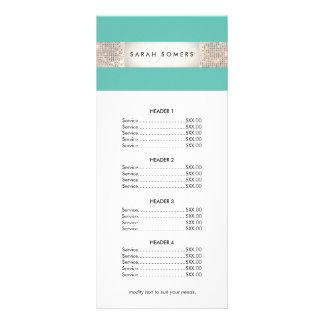 Menú de la lista de precios de la lentejuela de la plantilla de lona