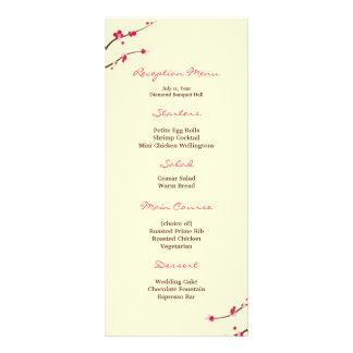 Menú de la recepción de la flor de cerezo tarjeta publicitaria
