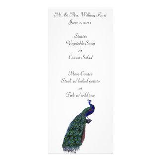 Menú de la recepción nupcial del penacho del pavo  tarjeta publicitaria personalizada
