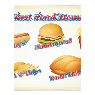 Menú de los alimentos de preparación rápida membrete a diseño