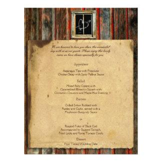 Menú de madera del boda del granero rústico tarjeta publicitaria