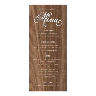 """Menú de madera del boda del grano con la fuente de invitación 4"""" x 9.25"""""""