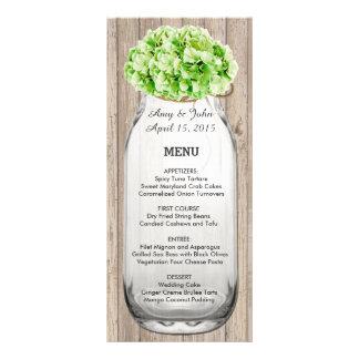 Menú de madera hyd4 del boda de albañil del graner diseño de tarjeta publicitaria