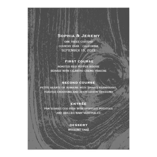 menú de madera rústico del boda del invierno del f