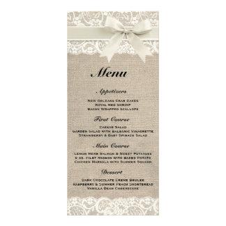 Menú de marfil rústico de la arpillera y del boda tarjetas publicitarias a todo color