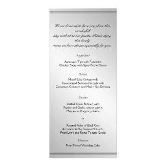 Menú de plata del boda de la elegancia lona