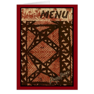 Menú de Tiki de los mediados de siglo del vintage Tarjeta De Felicitación