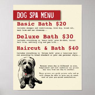 Menú del balneario de la preparación del perro - póster