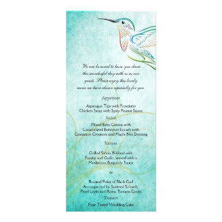 Menú del boda de la acuarela del colibrí de la lonas